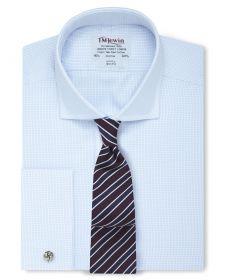 Мужская рубашка под запонки светло-синяя в мелкую клетку T.M.Lewin приталенная Slim Fit (52998)