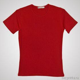 Женская красная футболка стрейч без рисунка REDFORT
