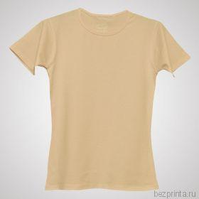 Женская бежевая футболка стрейч без рисунка MODERN