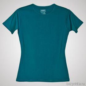 Женская бирюзовая футболка стрейч без рисунка MODERN