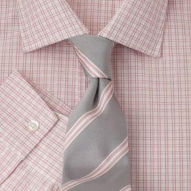 Мужская рубашка белая в светло-розовую клетку T.M.Lewin приталенная Fully Fitted (43071)