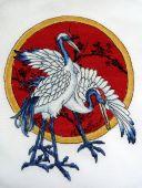 Схема для вышивки крестом Журавли. Отшив