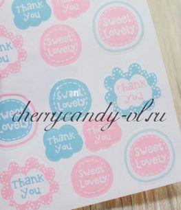 Наклейки - стикеры для упаковки Thank you sweet, 16 наклеек