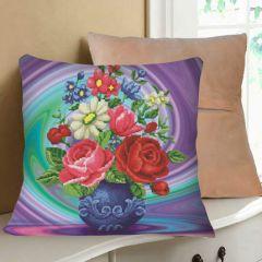 """Купить набор для вышивания крестом - наволочка для подушки """"Цветы в синей вазе"""""""