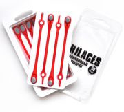 Cиликоновые шнурки для обуви Hilaces цвет Красный/Серый в раскрытой упаковке