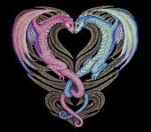Схема для вышивки крестом Сердце дракона. Отшив