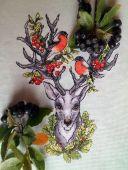 Схема для вышивки крестом Хранитель леса. Отшив