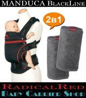 Комплект 2в1 MANDUCA BlackLine RadicalRed «Слинг-рюкзак Baby Carrier + Накладки на ремни Fumbee» [Мандука набор эргорюкзак+накладки Черный-Красный+Серый]