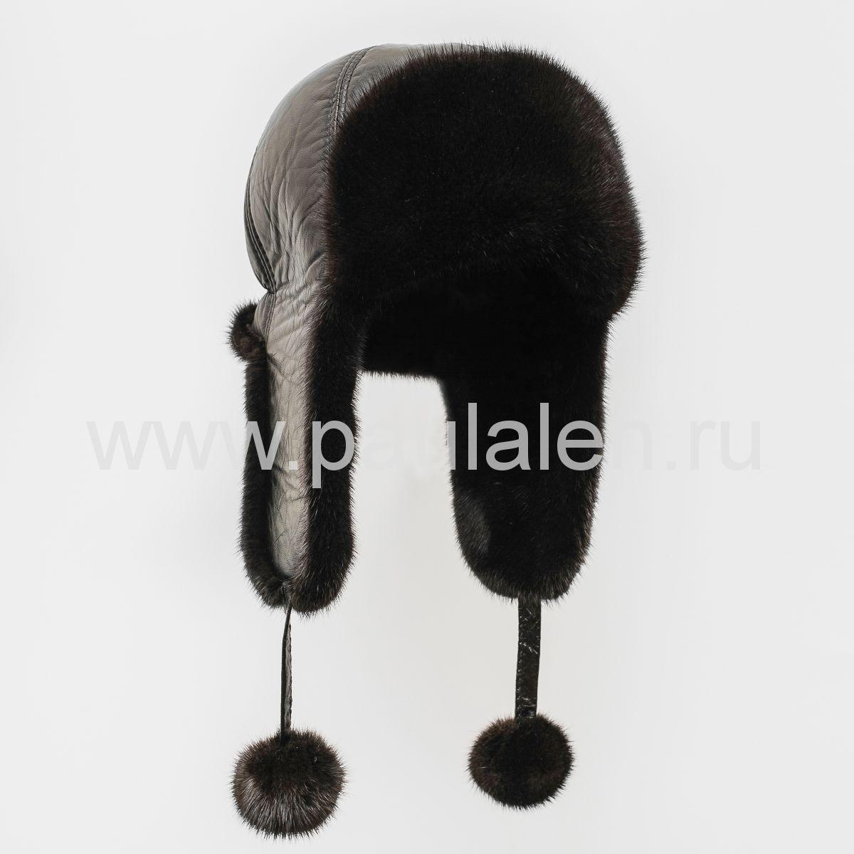 Женская меховая шапка из натуральной кожи и норки. Артикул A007