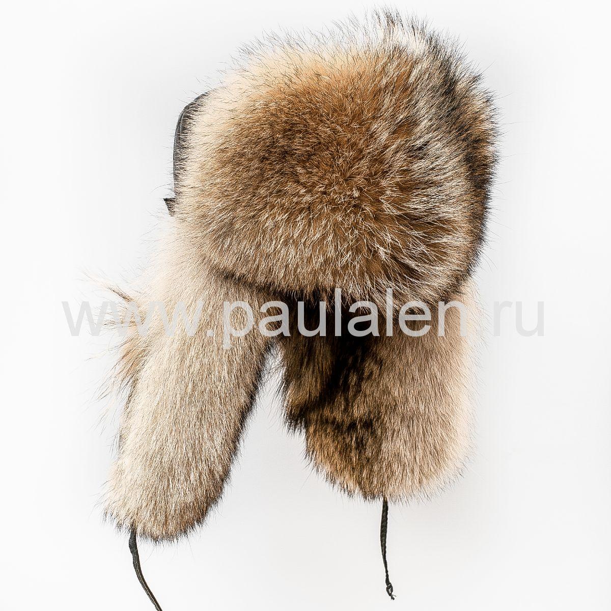 Мужская шапка ушанка из натурального меха волка