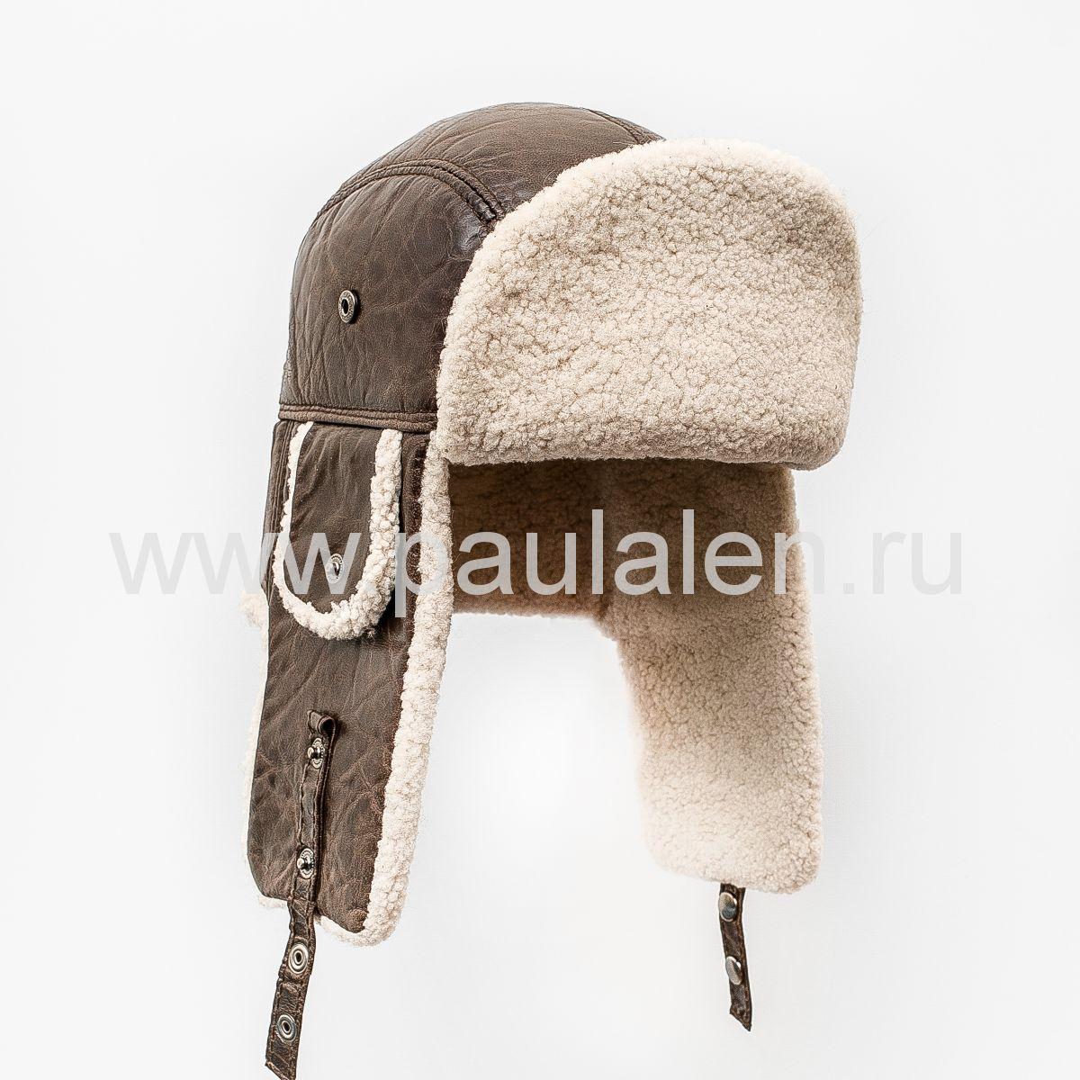 """Мужская шапка-ушанка """"Бомбер"""" из овчины. Артикул B038"""