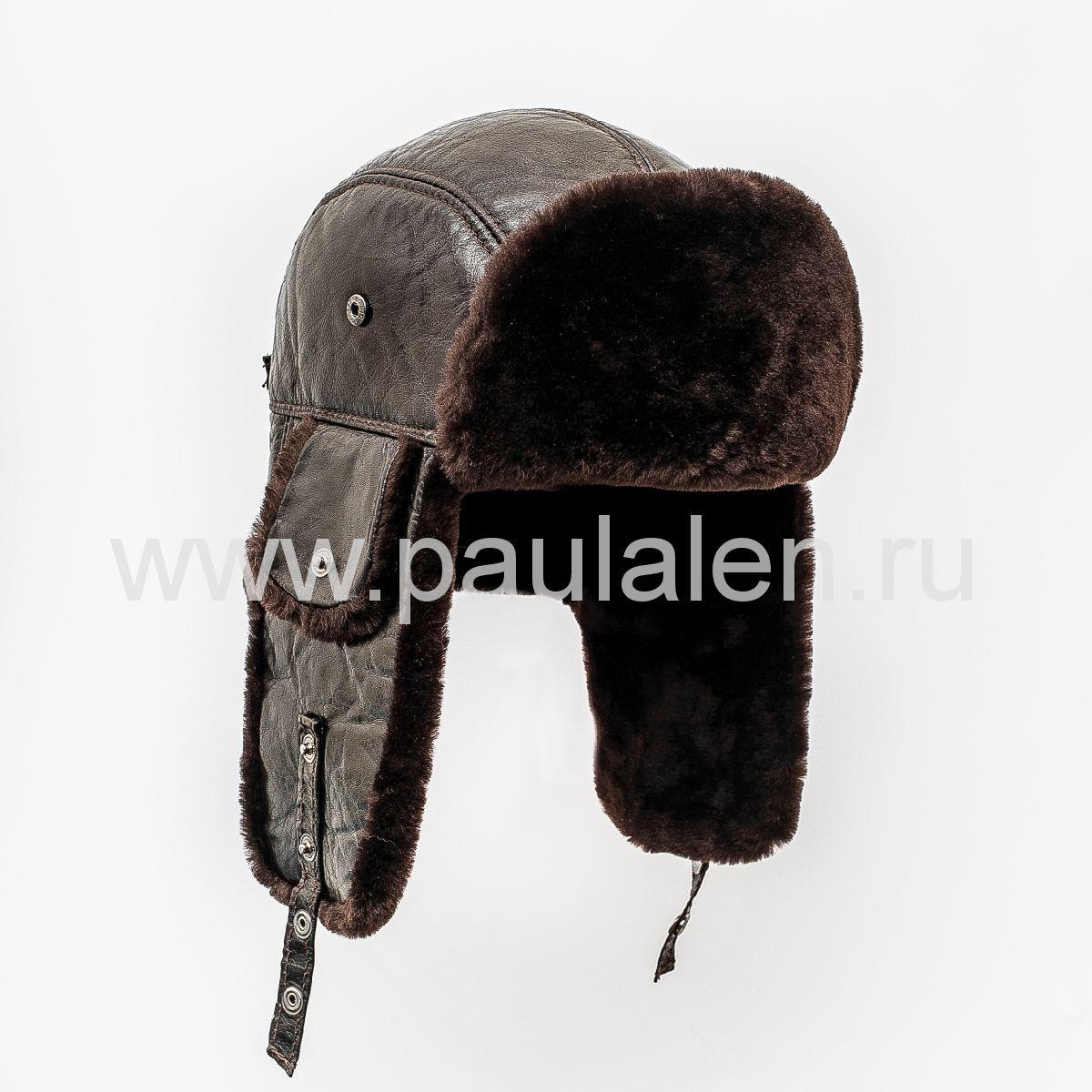 """Мужская шапка-ушанка """"Бомбер"""" из овчины. Артикул"""