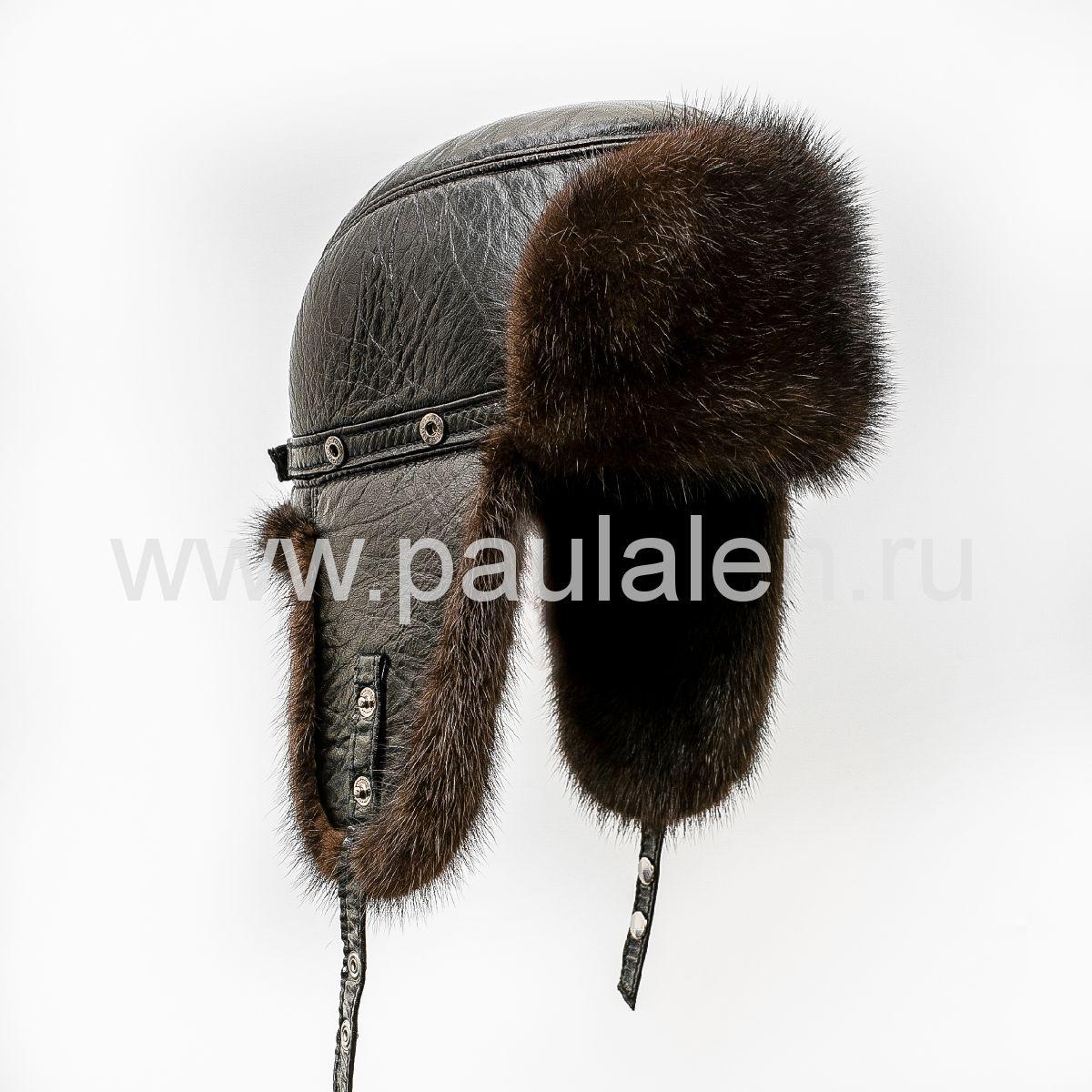 Норковая шапка-ушанка, (Пилот) из натуральной кожи B015