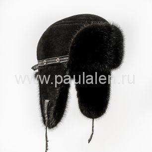 Мужская норковая шапка-ушанка (Пилот) из замши. Артикул B009