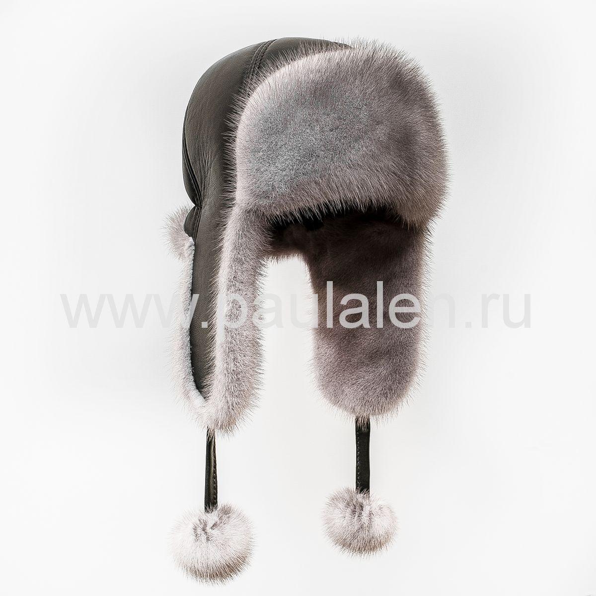Женская меховая шапка из натуральной кожи и норки. Артикул A013