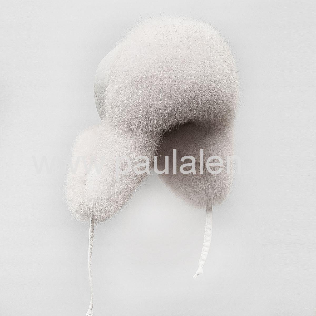 Женская шапка ушанка из меха песца. Артикул A002