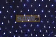 Гирлянда - сеть светодиодная 2 х 0.7м, свечение с динамикой, черный провод, бело/синие диоды NEON-NIGHT