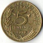 5 сентим. Франция. 1998 год.