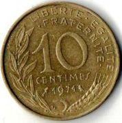 10 сентим. Франция. 1971 год.