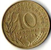 10 сентим. Франция. 1973 год.