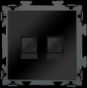 "Розетка интернет двойная RJ45*2 черная матовая CGSS ""Практика"" PL-W201C2-BCM"