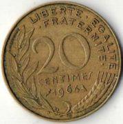 20 сентим. Франция. 1964 год.