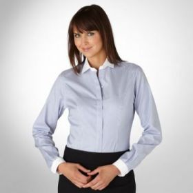 Женская рубашка белая в синюю полоску с белым воротом и манжетами T.M.Lewin приталенная Fitted (44090)