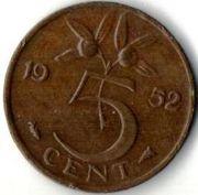 5 центов. 1952 год. Нидерланды.