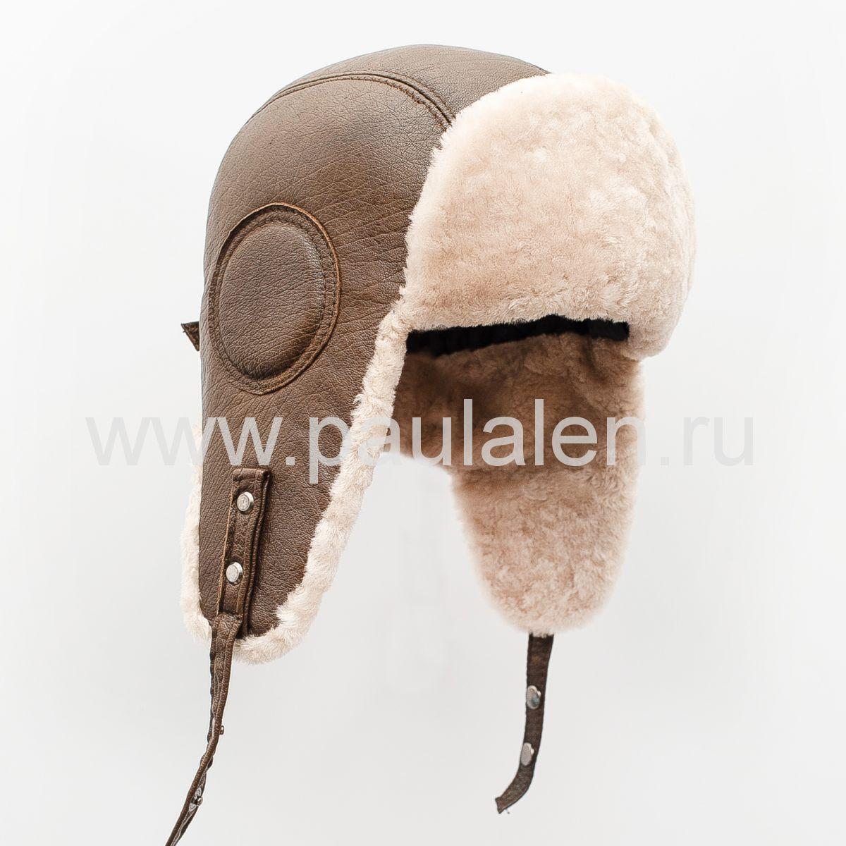 Меховая шапка ушанка Авиатор из меха овчины и оленьей кожи