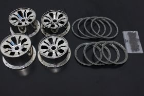 5B Chrome Split Super Star Wheels Set w/ beadlocks & screws