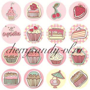Наклейки - стикеры для упаковки Cupcake, 16 наклеек