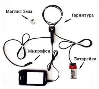 Магнитный микронаушник с выводом микрофона в рукав.