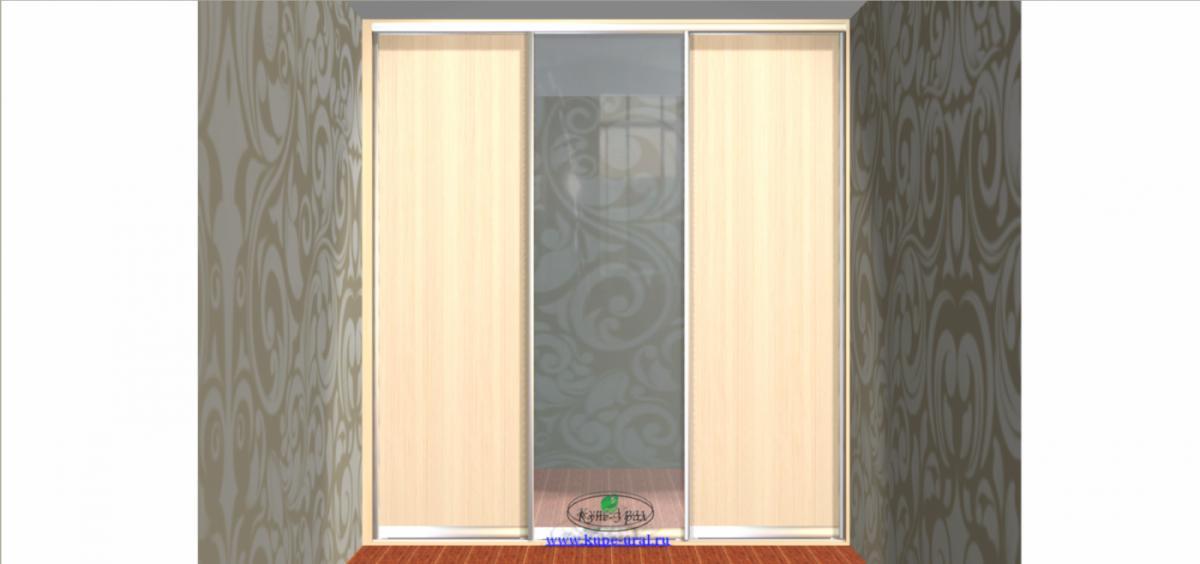 """Встроенный шкаф купе. Двери в алюминиевом профиле """"Alutech"""" серебро. 2344*600*2535 на ул.Индустрии."""