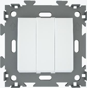 Переключатель проходной трехклавишный белый  CGSS W103 PWC