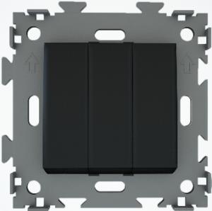Переключатель проходной трехклавишный черный  CGSS W103 PBC