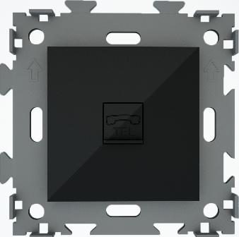 Розетка телефон черная CGSS W201T BC