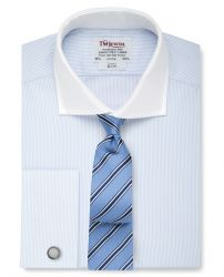 Мужская рубашка под запонки синяя с белым воротником T.M.Lewin приталенная Slim Fit (54432)