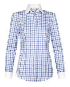 Женская рубашка в синюю клетку с белым воротником и манжетами хлопок T.M.Lewin приталенная Fitted (52457)