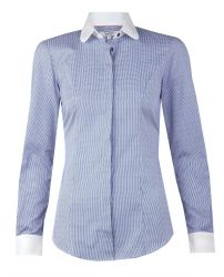Женская рубашка в мелкую синюю клетку с белым воротником и манжетами хлопок T.M.Lewin приталенная Fitted (52792)