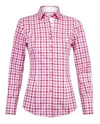Женская рубашка в розово-красную клетку хлопок T.M.Lewin приталенная Fitted (53305)