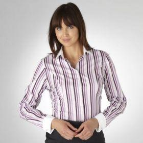 Женская рубашка под запонки белая в черно-сиреневую полоску с белым воротником и манжетами T.M.Lewin приталенная Fitted (44071)