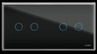 Четырехлинейная панель стеклянная черная на два поста CGSS WT-P04B