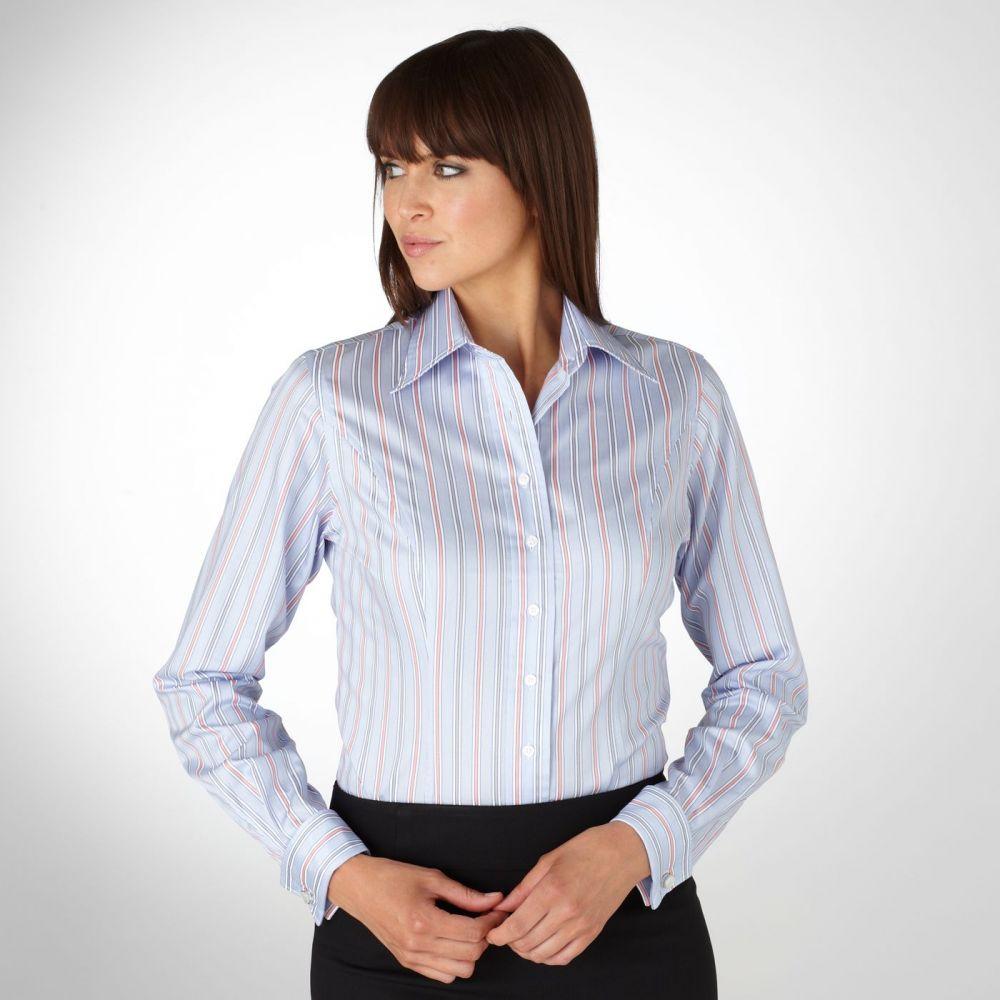 affd10b4563 Женская рубашка под запонки в красно-серую полоску T.M.Lewin приталенная  Fitted (44081)