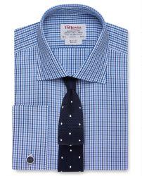 Мужская рубашка под запонки в синюю клетку T.M.Lewin приталенная Slim Fit (54442)