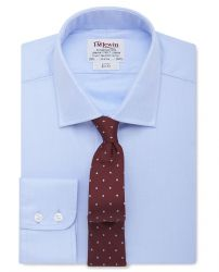 Мужская рубашка синяя T.M.Lewin приталенная Slim Fit (30428)