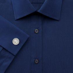 Мужская рубашка под запонки темно-синяя Charles Tyrwhitt сильно приталенная Extra Slim Fit (FD296DBL)