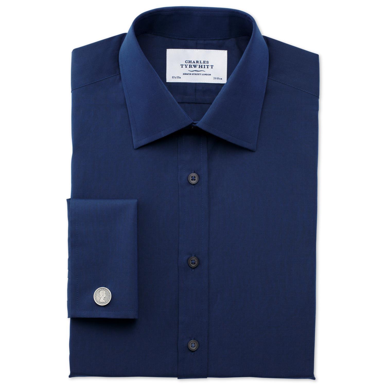 3ebb53513b5 Мужская рубашка под запонки темно-синяя Charles Tyrwhitt сильно приталенная  Extra Slim Fit (FD296DBL. Увеличить изображение