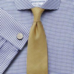 Мужская рубашка под запонки белая в синюю клетку Charles Tyrwhitt не мнущаяся Non Iron классическая Classic Fit (SN556NAV)