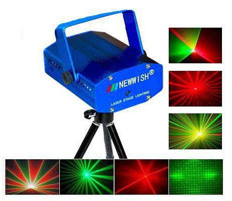 Лазерная мини-станция из 2-х цветов: красный и зеленый с эффектом звездного неба.