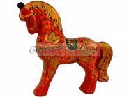"""Расписная игрушка """"Красный конь"""" Эксклюзивный подарок Хохлома"""